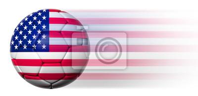 Fußball mit der amerikanischen Flagge in Bewegung isoliert