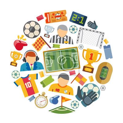 Fußball oder europäischen fußball vektor flache symbole gesetzt ...