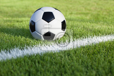 Fußball sitzt auf Gras Feld mit weißem Streifen
