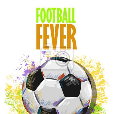 Fußball-Spielball von professionellen Künstler. Diese Darstellung wird von Wacom-Tablett mit Hilfe Grunge Texturen und Bürsten in malerischen Stil kreiert.