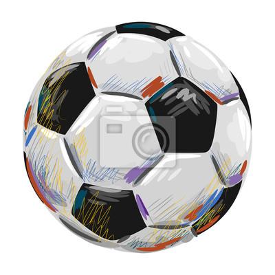 Fußball-Spielball von professionellen Künstler. Diese Darstellung wird von Wacom-Tablett mit Hilfe Grunge Texturen und Bürsten in malerischer Die durchweg Elemente erstellt werden, in verschiedenen Eb