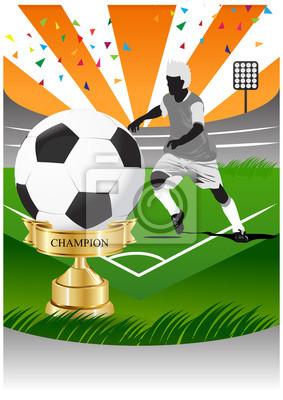 Fußball-Spieler auf dem Fußballfeld mit Gold-Cup-Champion