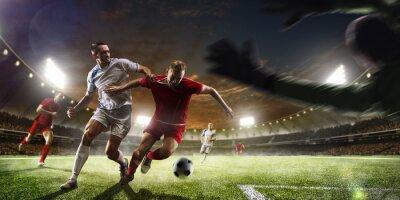 Fototapete Fußball-Spieler in Aktion auf Sonnenuntergang Stadion Hintergrund Panorama