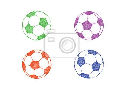 Fussball Symbol In Farbe Gesetzt Fussball Von Hand Gezeichnet