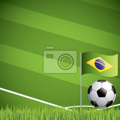 Fußball und der Brasilien-Flagge