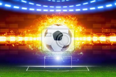 Fußballkugel im Feuer
