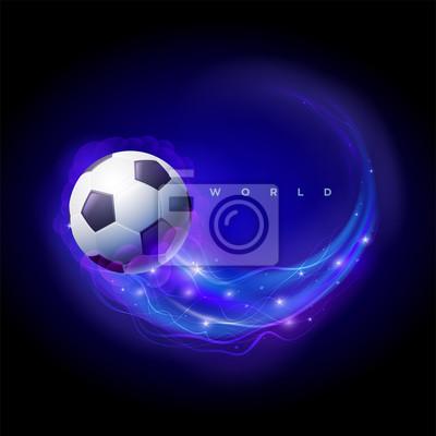 Fußballkugel-Komet mit Flammen.