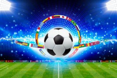 Fußballkugel über grünem Stadion mit hellen Scheinwerfern, sportliches Hauptereignis des Jahres