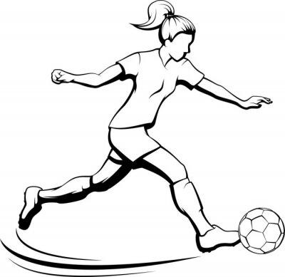 Fußballmädchen tritt