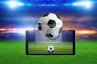 Fußballspiel Online-Konzept, grüne Fußballfeld, helle Scheinwerfer