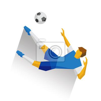 Fototapete Fussballspieler Der Den Ball Im Sprung Tritt Flache Clip Art