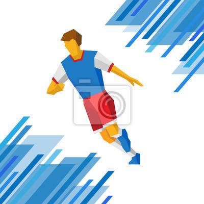 Fussballspieler In Roten Und Blauen Farben Fussball Clip Art