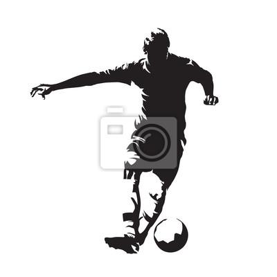Fussballspieler Mit Ball Abstrakte Vektor Silhouette