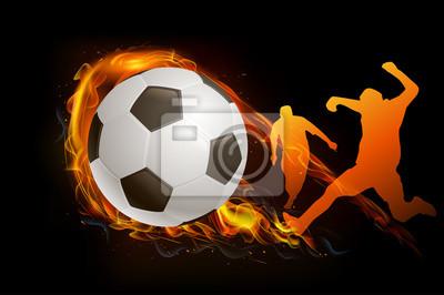 Fußballspieler mit Ball Feuer Hintergrund