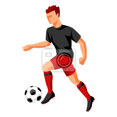 Fussballspieler Mit Ball Sport Fussball Abbildung Fototapete