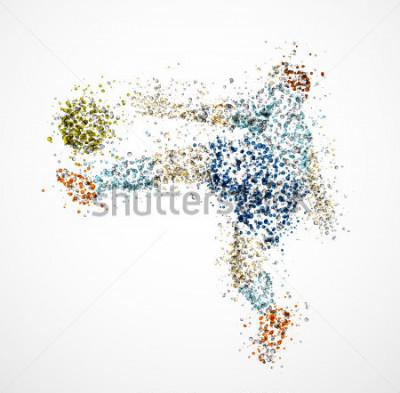Fototapete Fußballspieler, treten Sie einen Ball. Eps 10
