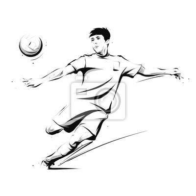 Fussballspieler Tritt Den Ball In Der Luft Fototapete