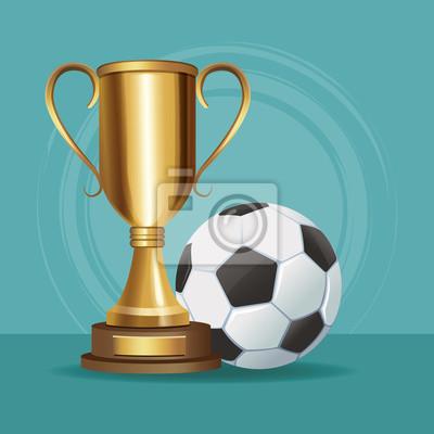 Fußballtrophäenschalen- und Ballvektorillustrations-Grafikdesign