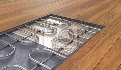 Holzboden Fußbodenheizung ~ Fußbodenheizung unter holzboden d gerenderten illustration