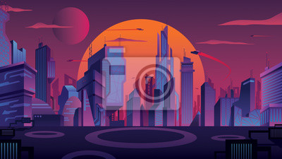 Fototapete Futuristic City Landscape