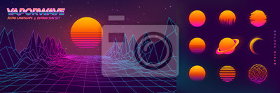 Fototapete Futuristic neon retrowave background. Retro low poly grid landscape mountain terrain with set of glowing outrun sun vector illustration template
