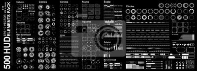 Fototapete Futuristic virtual graphic touch user interface, Mega set Futuristic Hud elements
