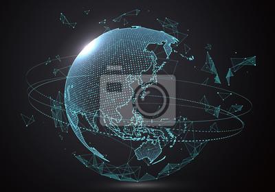 Fototapete Futuristische Globalisierungsschnittstelle, ein Sinn für Wissenschaft und Technik abstrakte Grafiken.