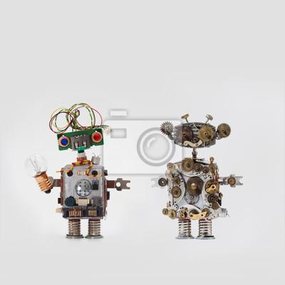 Futuristische roboter auf grauem hintergrund. freundliche ...
