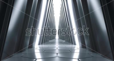 Fototapete Futuristischer realistischer großer Sci-FI-Korridor mit weißen Lichtern und Reflexionen. 3D-Rendering