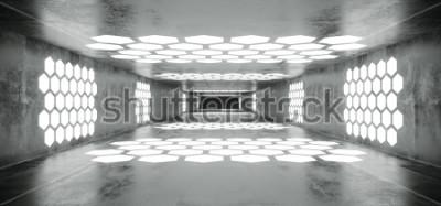 Fototapete Futuristisches Sci Fi-Raumschiff-Schmutz-konkreter leerer Tunnel mit weißen glühenden Hexagon-geformten Lichtern mit schwarzer dunkler Ende Wiedergabe-3D