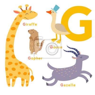 G Buchstabe Tiere gesetzt. Englisches Alphabet. Vektor-Illustration, isoliert auf weißem Hintergrund