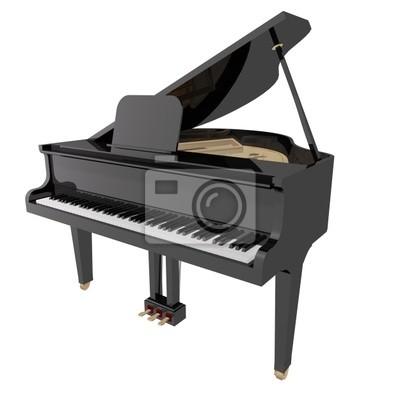 Gand Klavier auf einem weißen Hintergrund