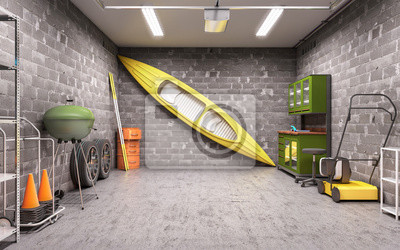 Fototapete Garage Innen 3D Illustration