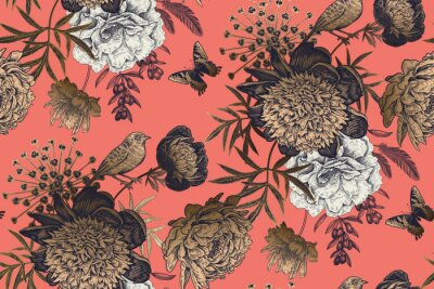 Fototapete Garden flowers peonies on a coral background. Luxury seamless pattern.