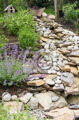 Garten wasserlauf mit steinen fototapete • fototapeten Vogelhaus ...