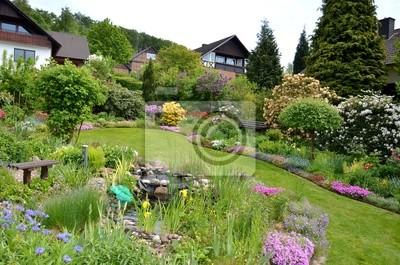 Gartenanlage mit teich fototapete • fototapeten Laube, Blütenpracht ...