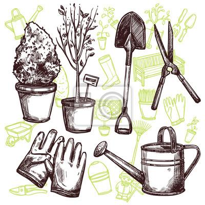 Gartengeräte Skizze Konzept