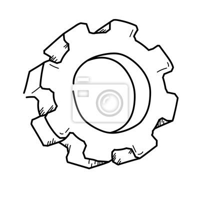 Gear symbol für die technik freihandzeichnung abbildung fototapete ...