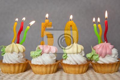 Geburtstag 50 Jahre Mit Kuchen Und Goldenen Kerzen Fototapete