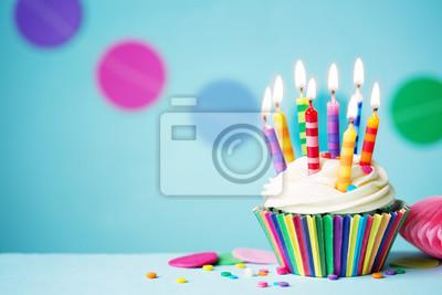 Geburtstag Cupcake Fototapete Fototapeten Stripey Blauem