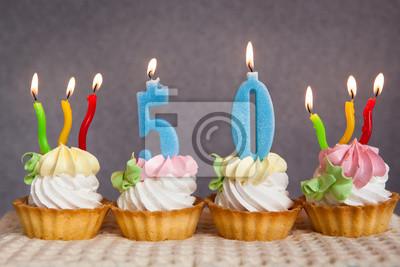 Geburtstag Jubilaum 50 Jahre Mit Kuchen Und Blauen Zahlen Kerzen