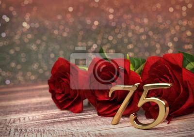 Fototapete Geburtstag Konzept Mit Roten Rosen Auf Schreibtisch Aus Holz