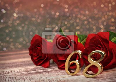 Geburtstag Konzept Mit Roten Rosen Auf Schreibtisch Aus Holz