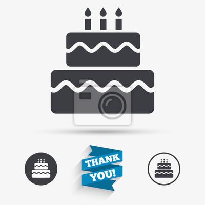 Geburtstag Kuchen Zeichen Symbol Brennende Kerzen Symbol Fototapete