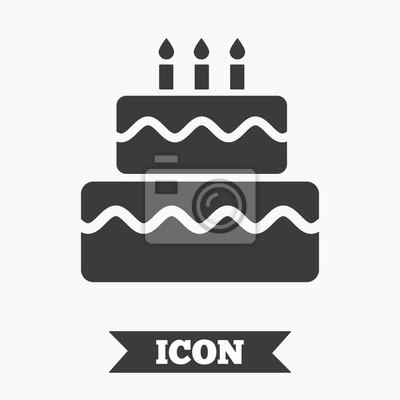 Geburtstag Kuchen Zeichen Symbol Brennende Kerzen Symbol