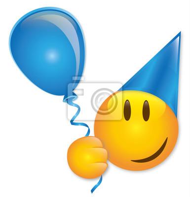 Geburtstag Smiley Mit Ballon Und Partyhut Vektor Fototapete