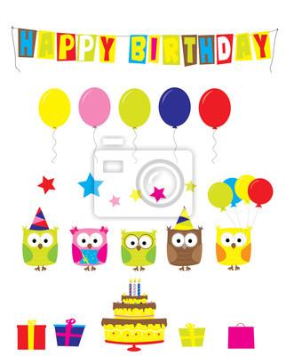 Geburtstagsfeier Cartoon Elemente Eulen Ballons Geschenke