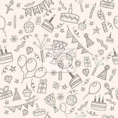 Geburtstagsfeier doodle Muster