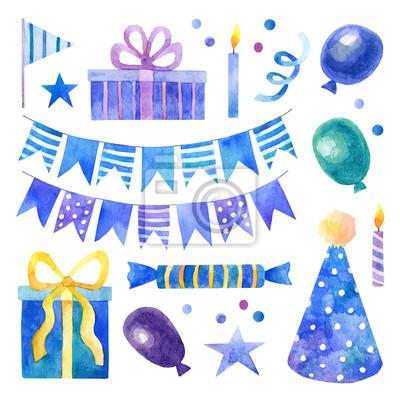 Geburtstagsfeier mit blauen und lila Aquarell-Elemente gesetzt
