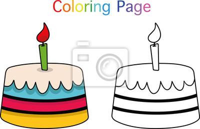 Geburtstagskuchen Ausmalbilder Für Kinder Vector Illustration